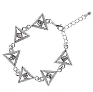 Triangle Bracelet with Diamond Shaped Cubic Zirconia - Unique statement Jewellery